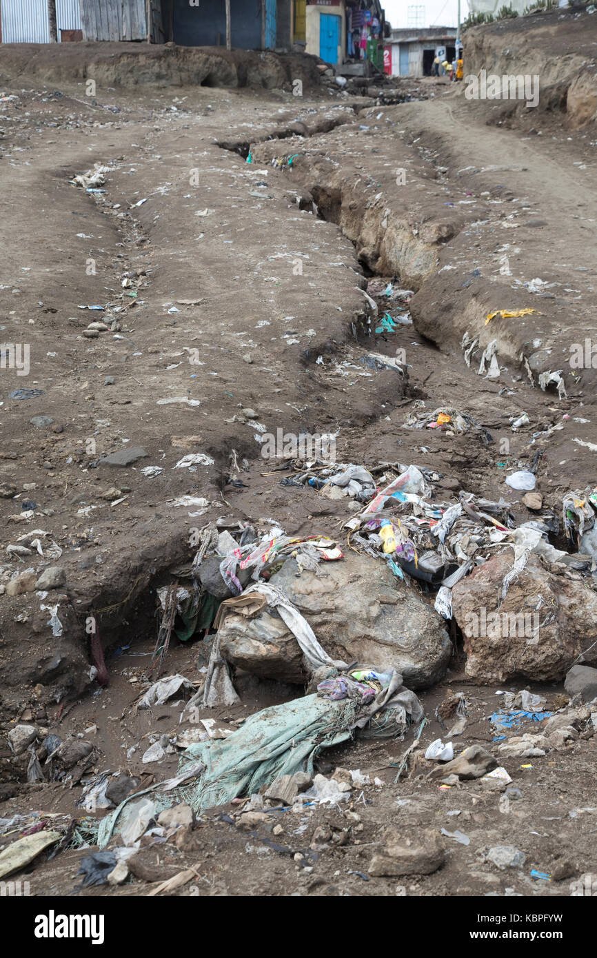 Plastic bags and litter collecting in developing erosion gully Kamere Township Kenya - Stock Image