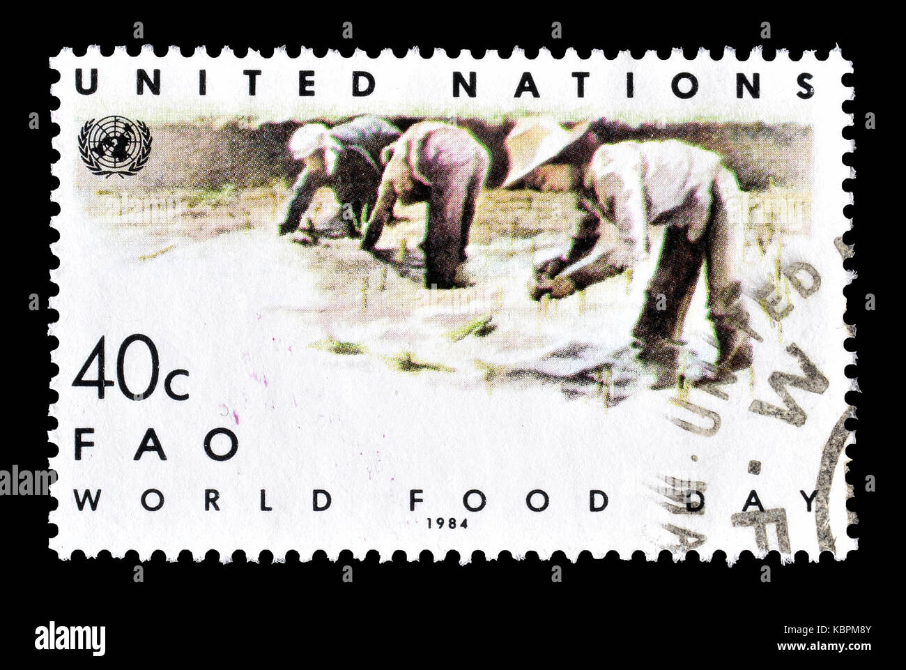 Cancelled postage stamp printed by United Nations, that promotes World food day. - Stock Image