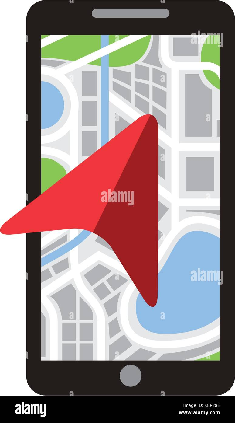 mobile phone with arrow navigation map city - Stock Image