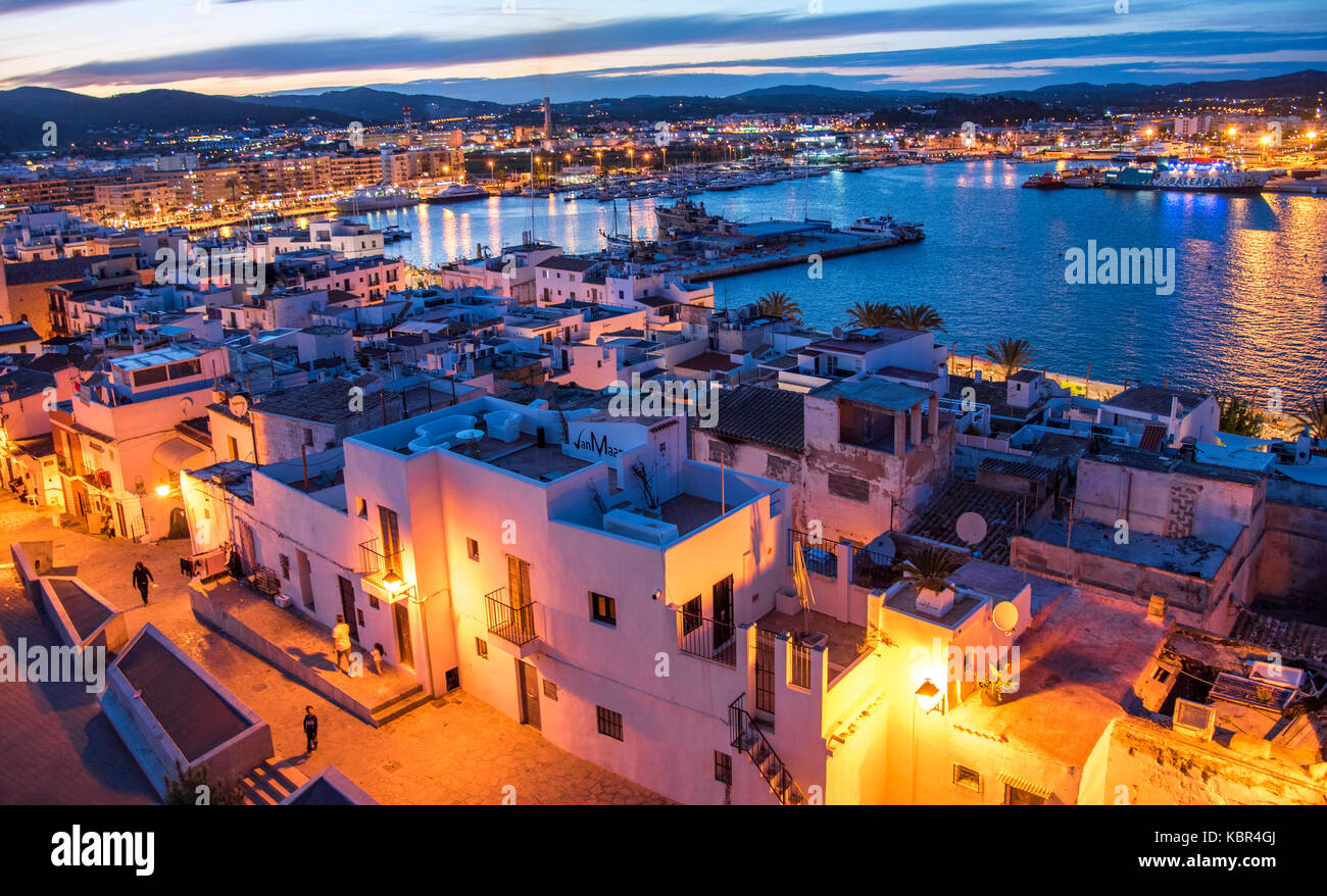Old Town port at sunset. Ibiza harbour, Balearic Islands. - Stock Image
