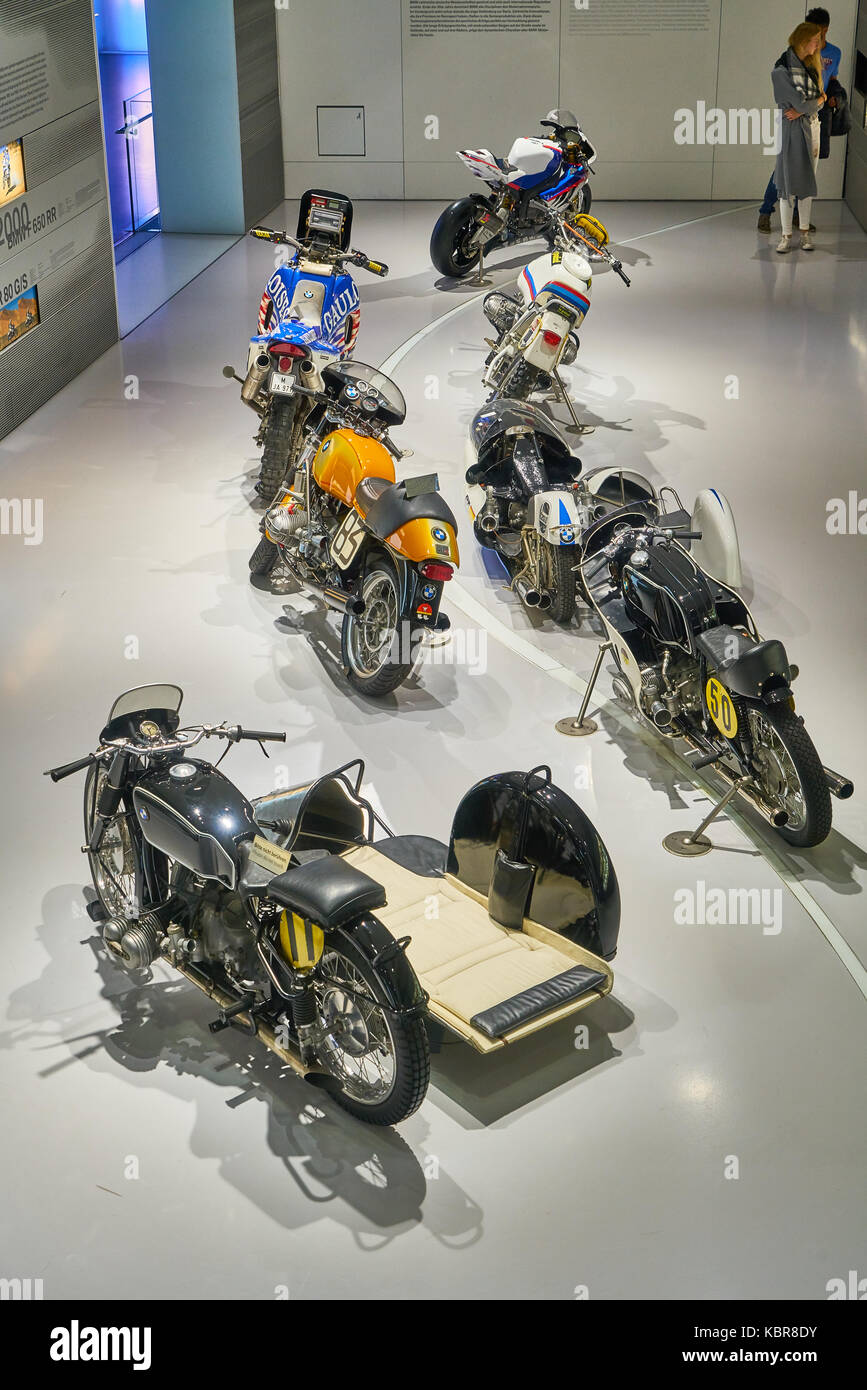 a series of motors in BMW Museum of Munich, which is a famous germany auto brand - Stock Image