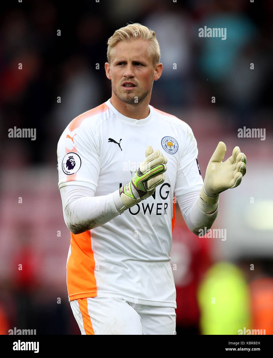 Leicester City Goalkeeper Kasper Schmeichel Applauds The Fans After Stock Photo Alamy