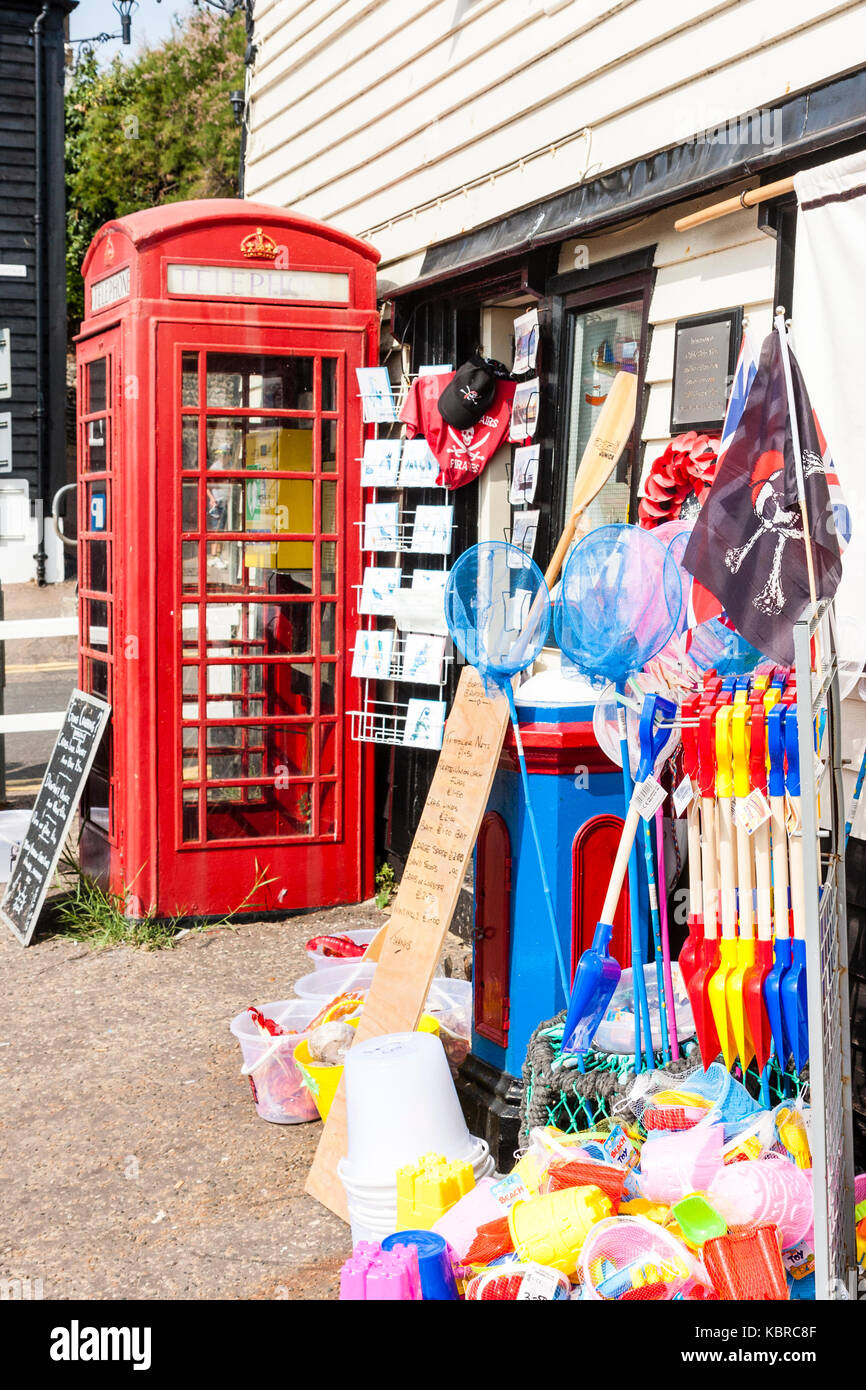 England, Broadstairs  Seafront, British red telephone box