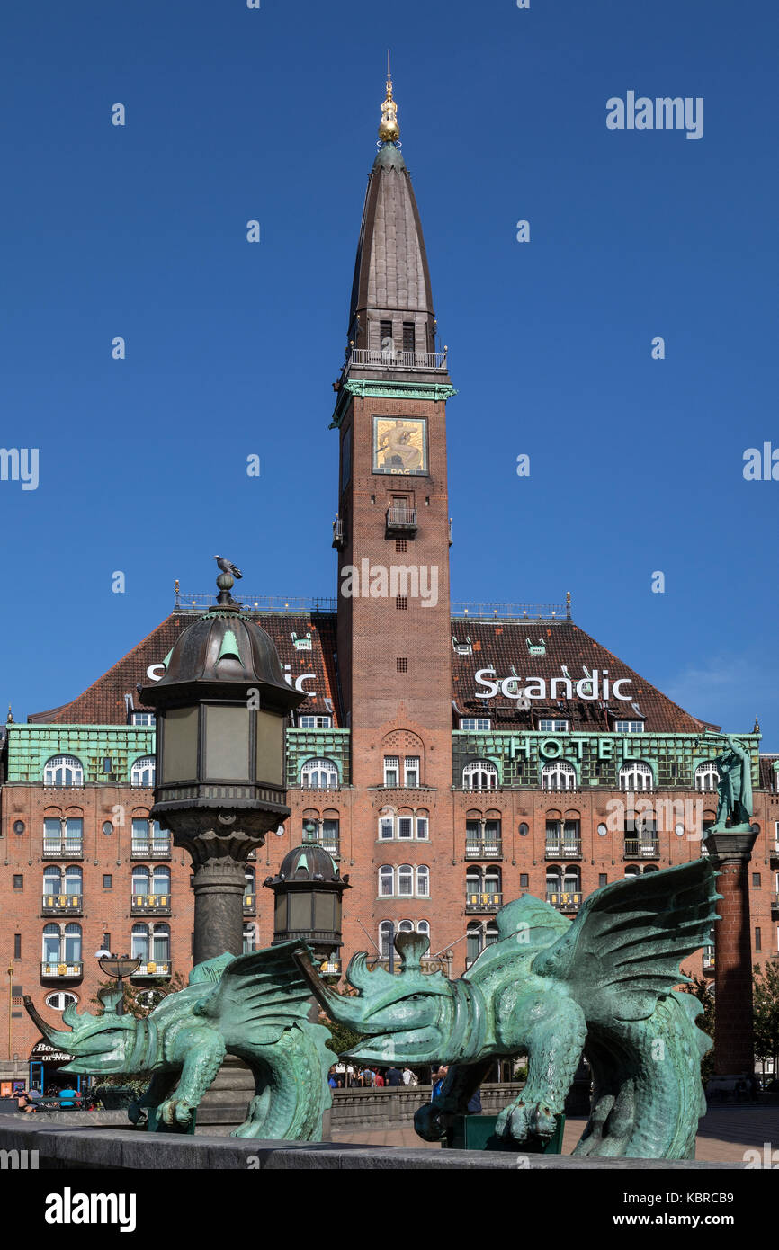 Palace Hotel in City Hall Square, Copenhagen in Denmark. This Art Nouveau style building was designed by Anton Rosen - Stock Image