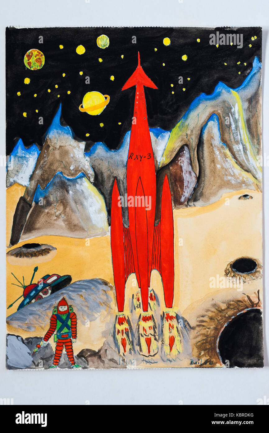 Moon rocket, pupil's drawing, children's drawing, 12 years, Germany - Stock Image