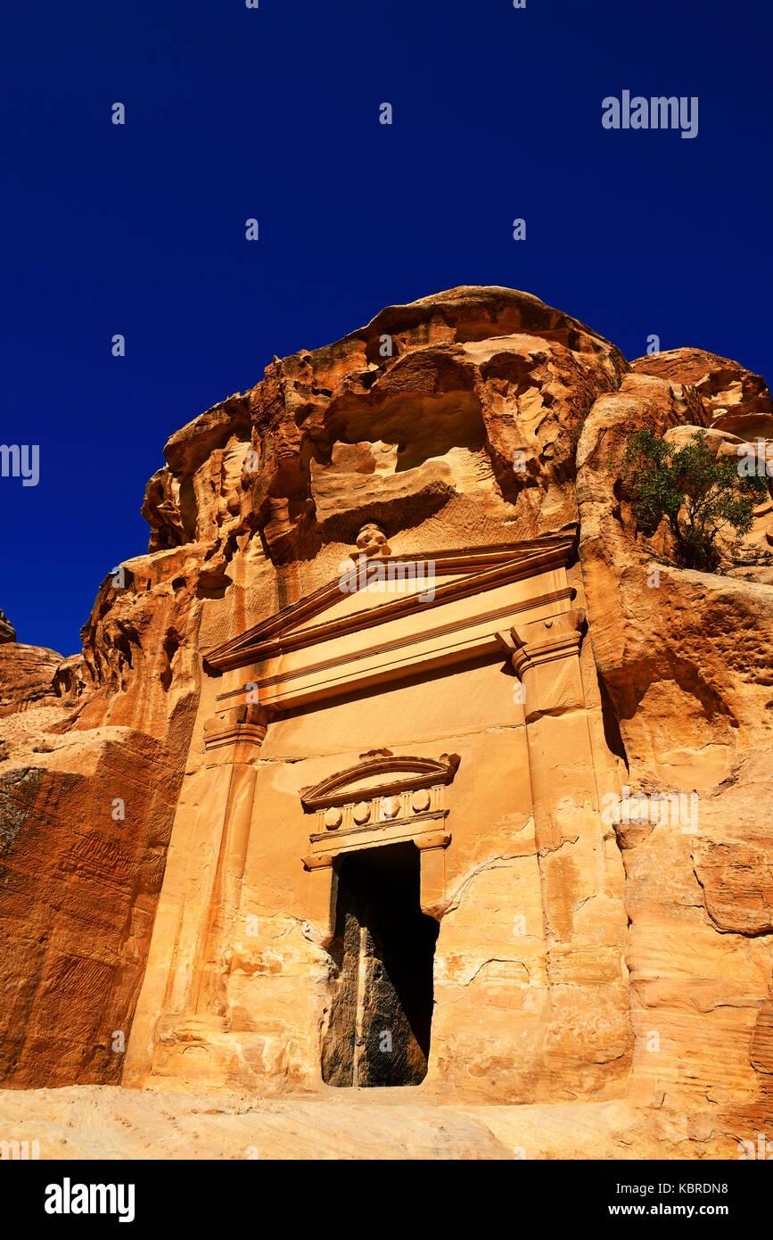 Old rock-church in Little Petra, Jordan - Stock Image