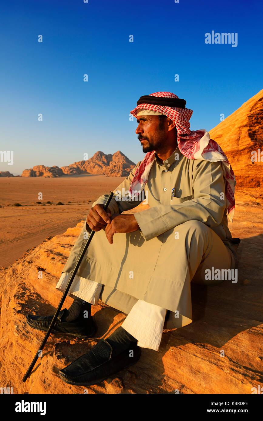 Bedouin looking at Wadi Rum, Jordan - Stock Image