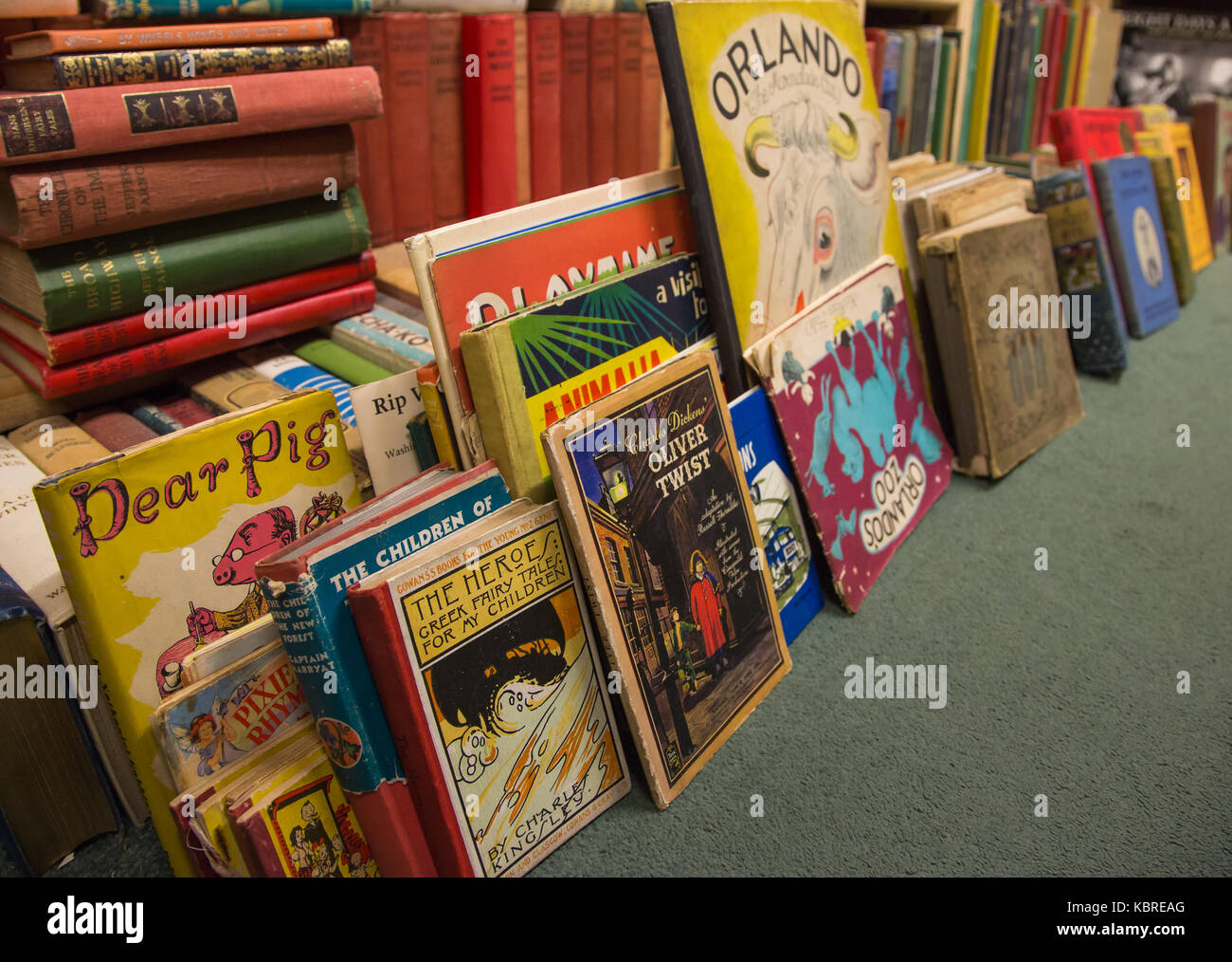 Childrens books in secondhand bookshop Stock Photo