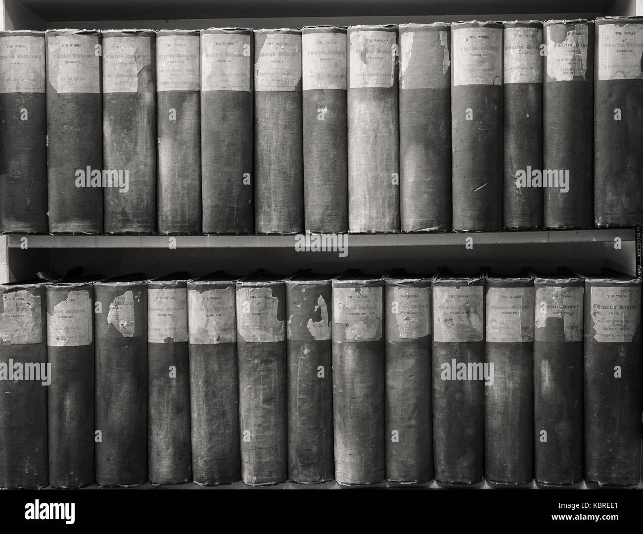 Books in secondhand bookshop converted to black and white - Stock Image