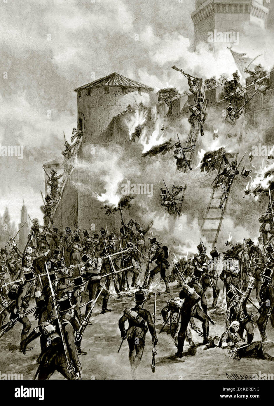 The siege of Ganja Fortress in 1804 during the Russo-Persian War of 1804-1813 by Russian forces under the leadership - Stock Image