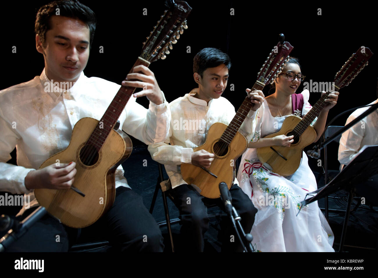 The Philippine folk music ensemble 'PWU JASMS RONDALLA' on the stage for the opening of the Days of the - Stock Image