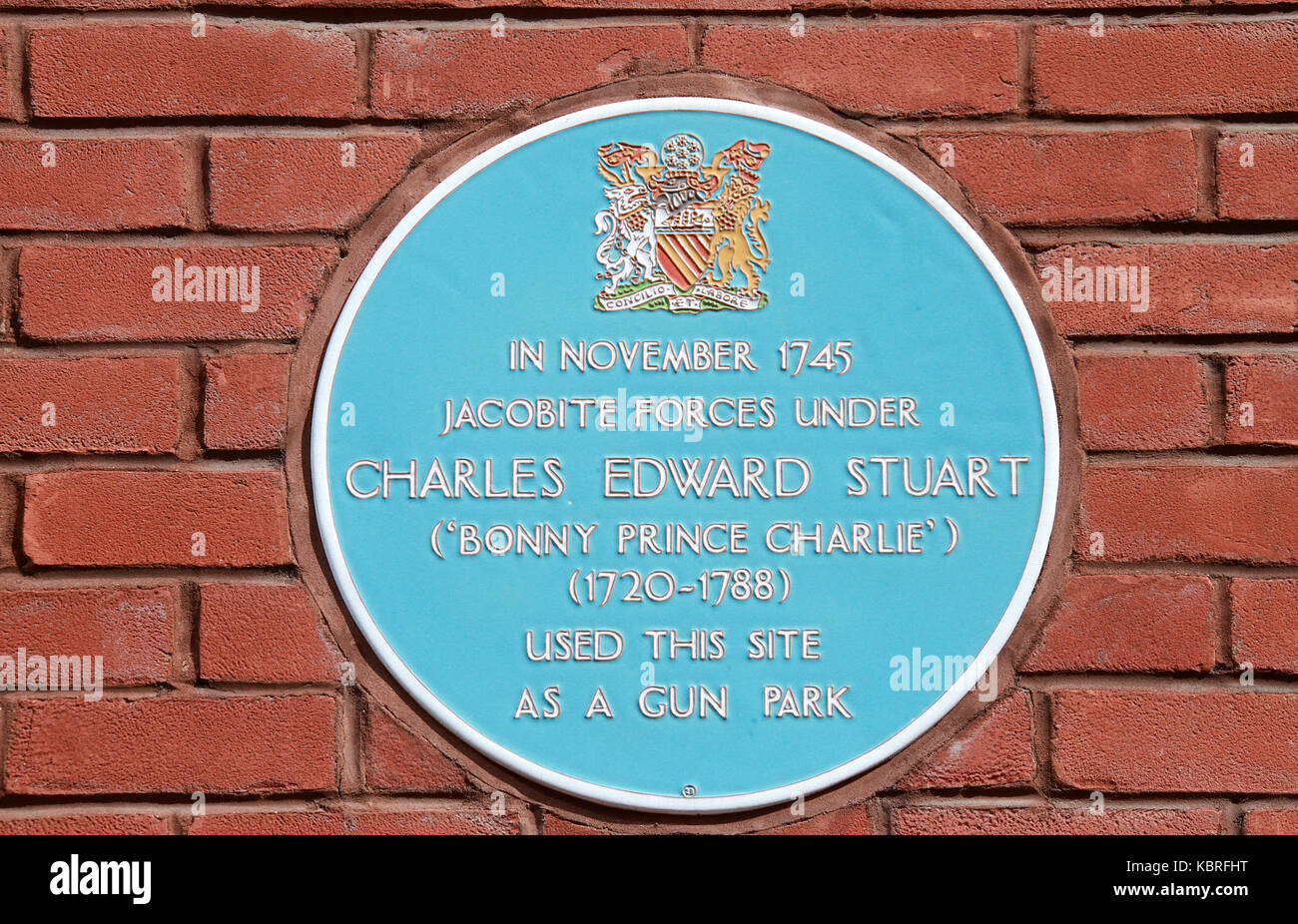 Blue plaque in Manchester - Stock Image