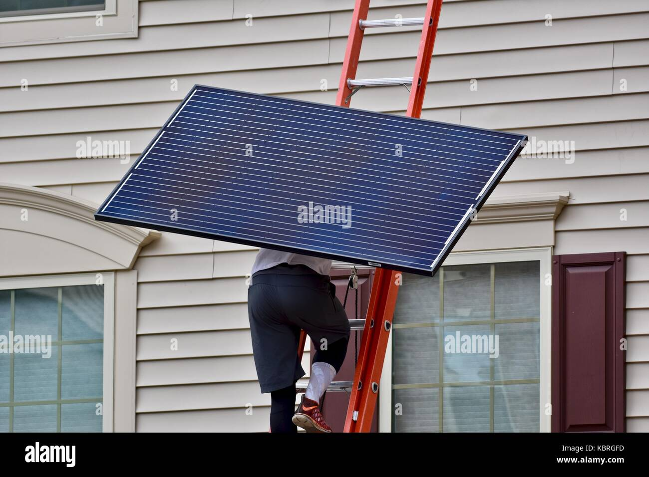 Solar Panel Up Ladder Stock Photos Amp Solar Panel Up Ladder