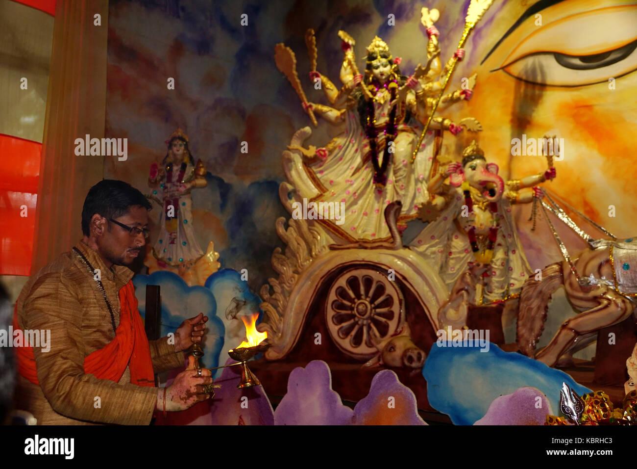 The Durga Puja Festival &  magnificent Idol Goddess Durga - Stock Image