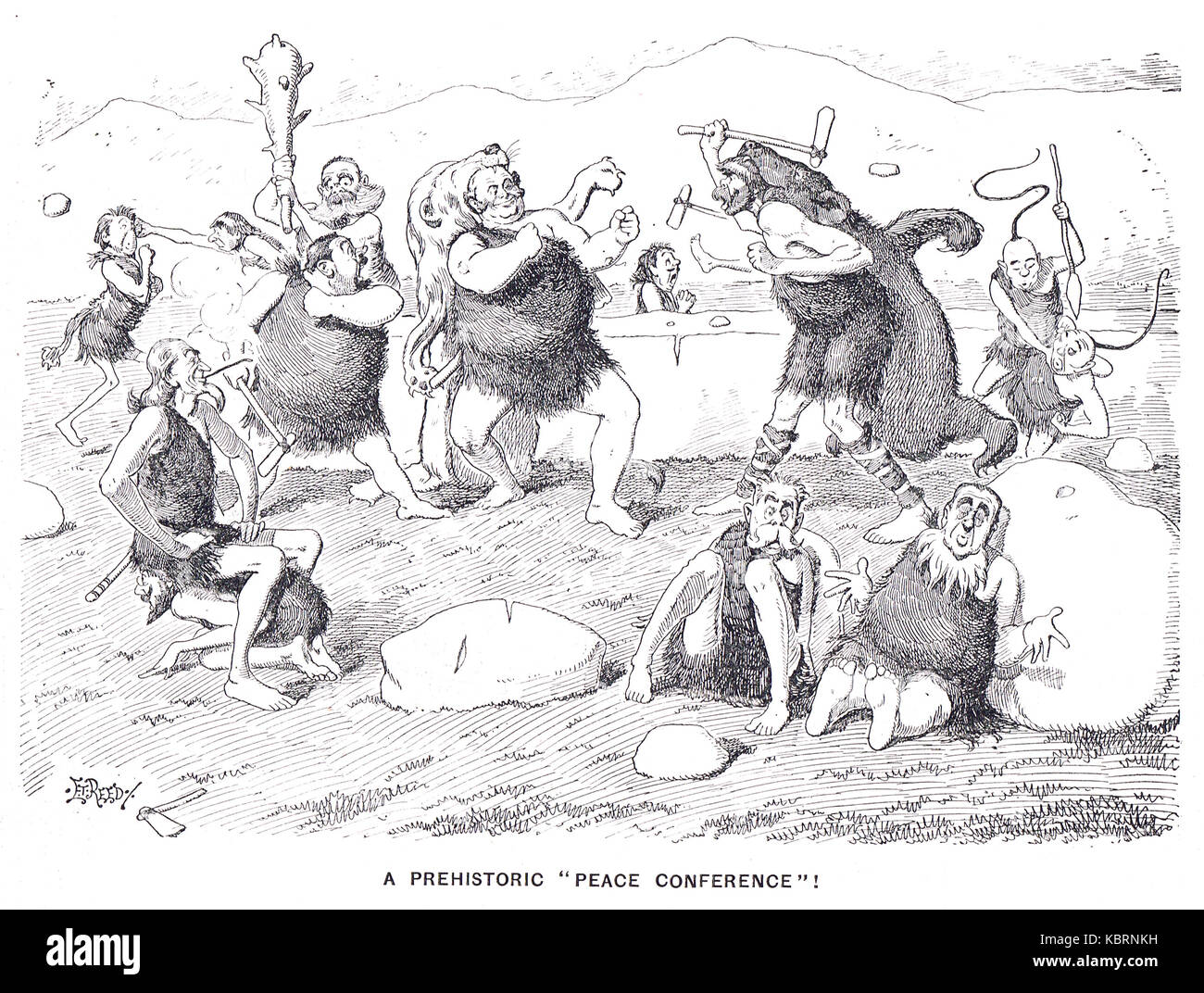 Prehistoric Peace Conference, Punch 1899 - Stock Image