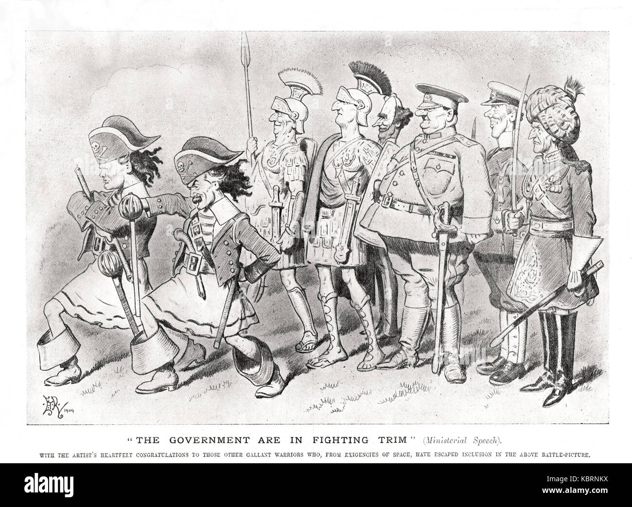 Government in fighting trim, Punch 1909.  Churchilll & Lloyd George at the  front - Stock Image
