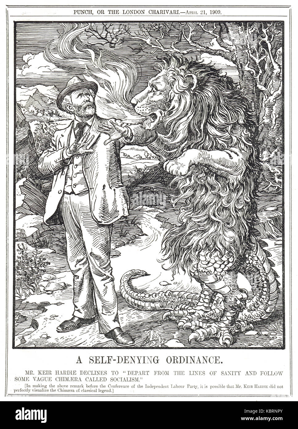 Keir Hardie declining the vague Chimera of Socialism, Punch 1909 - Stock Image