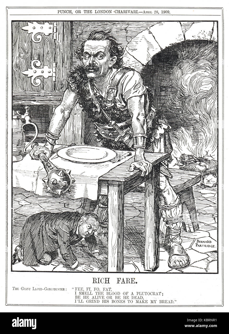 Lloyd George as a pantomime Giant smelling the rich, the People's budget, 1909-10 - Stock Image