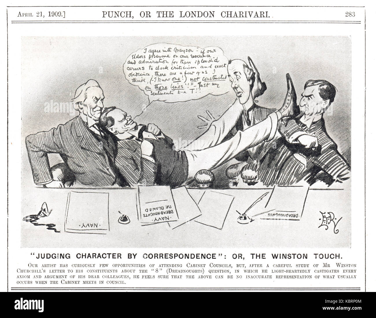 Winston Churchill at cabinet, Punch 1909 - Stock Image