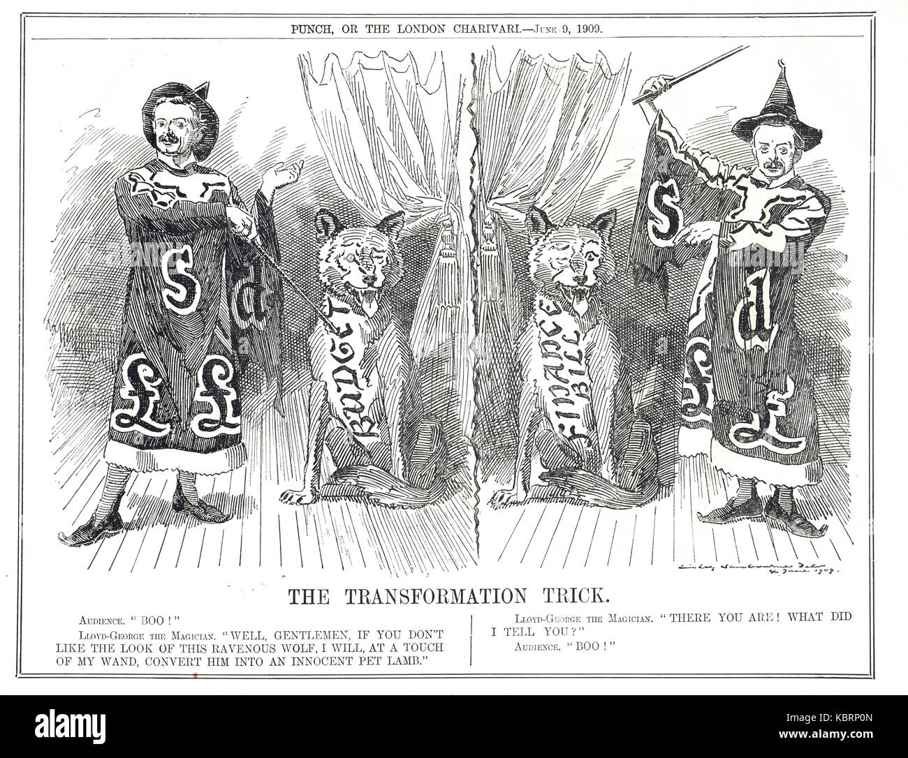 Lloyd George budget transformation trick, the People's budget, 1909-10 - Stock Image