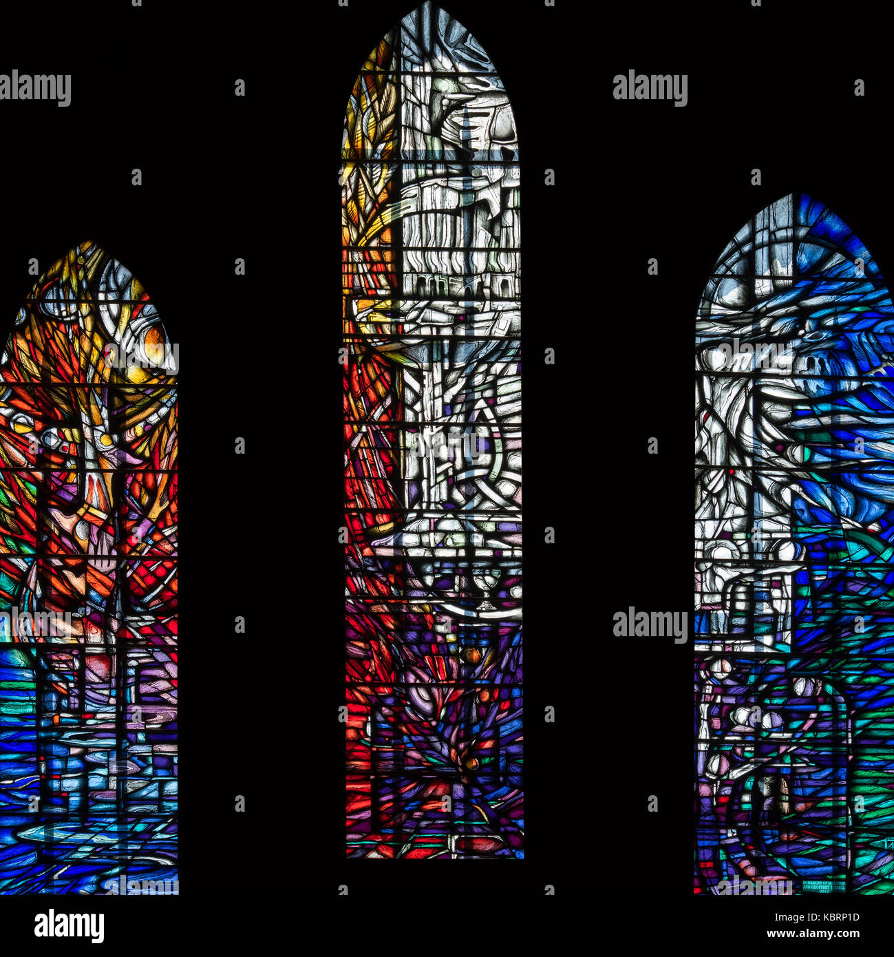 The Tyrrell window, stained glass symbolising caring and sharing, Hexham Abbey, United Kingdom - Stock Image