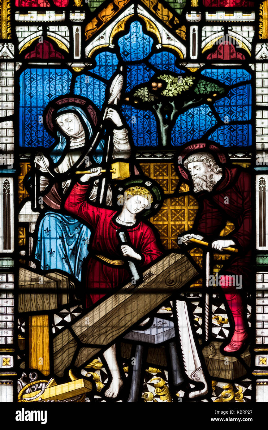 Joseph's workshop depicted by Clayton and Bell, St Edith's Church, Bishop Wilton, United Kingdom - Stock Image