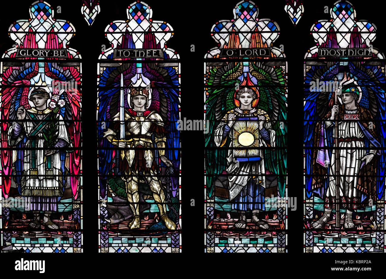 Archangels Uriel, MIchael, Raphael and Gabriel depicted (1920) by Mary Hutchinson, Hull Minster, United Kingdom. Stock Photo