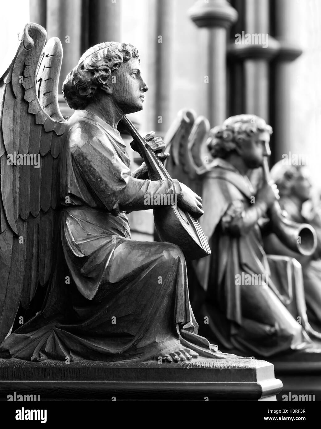 Winged Angels carved by Thompson Of Kilburn, Bridlington Priory, United Kingdom - Stock Image
