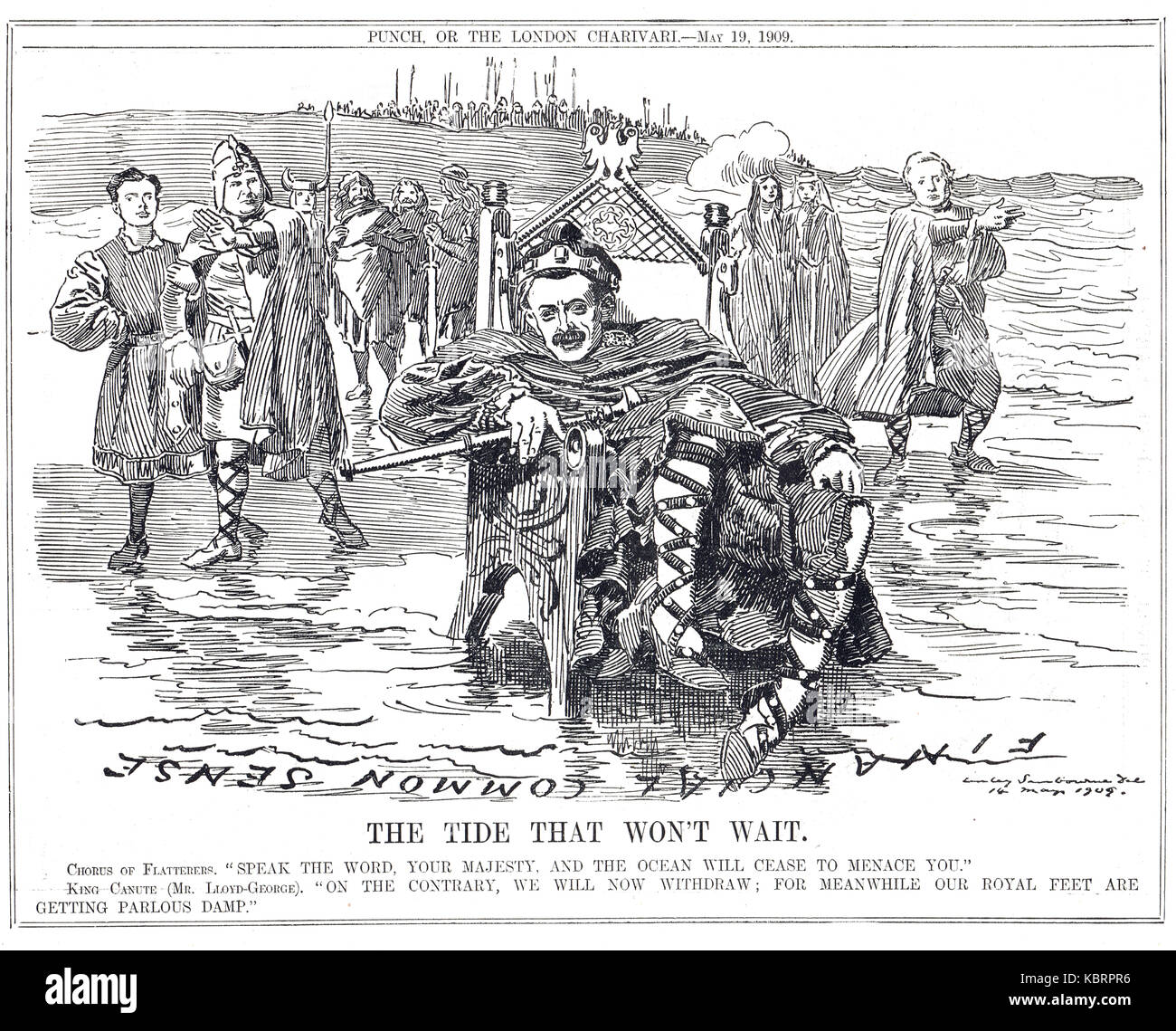 Lloyd George as Cnut the great or Canute, the dreadnought question, Punch 1909 - Stock Image