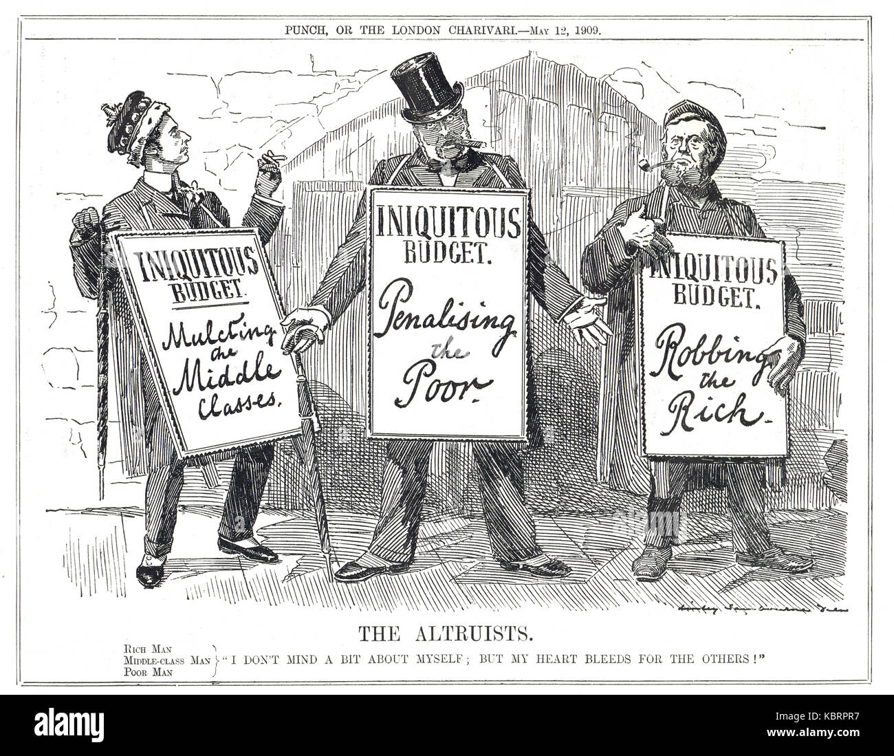 The People's budget an altruistic protest, Punch 1909 - Stock Image