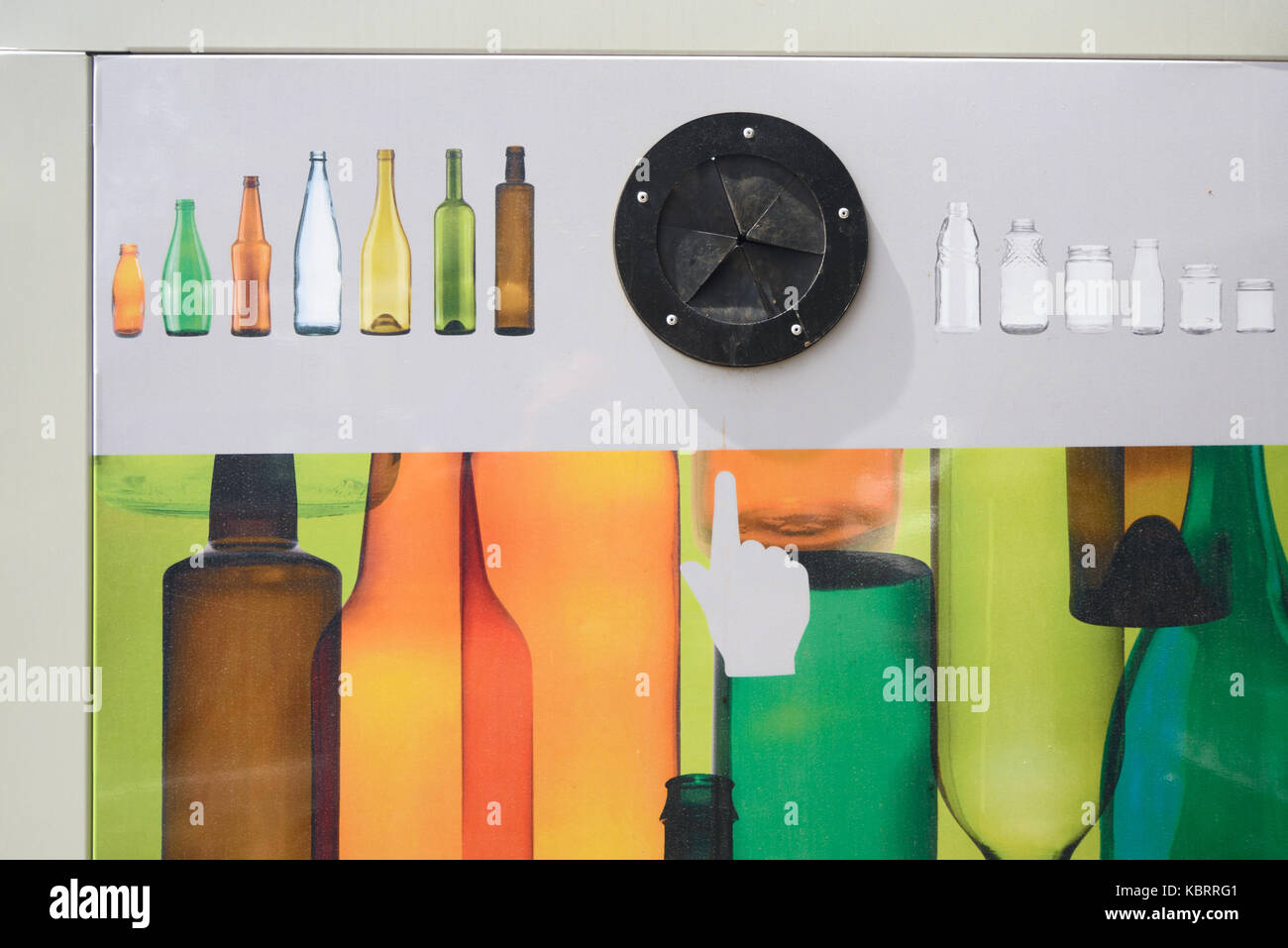 Bottle Bank or Glass Collection Point for Glass Recycling - Stock Image