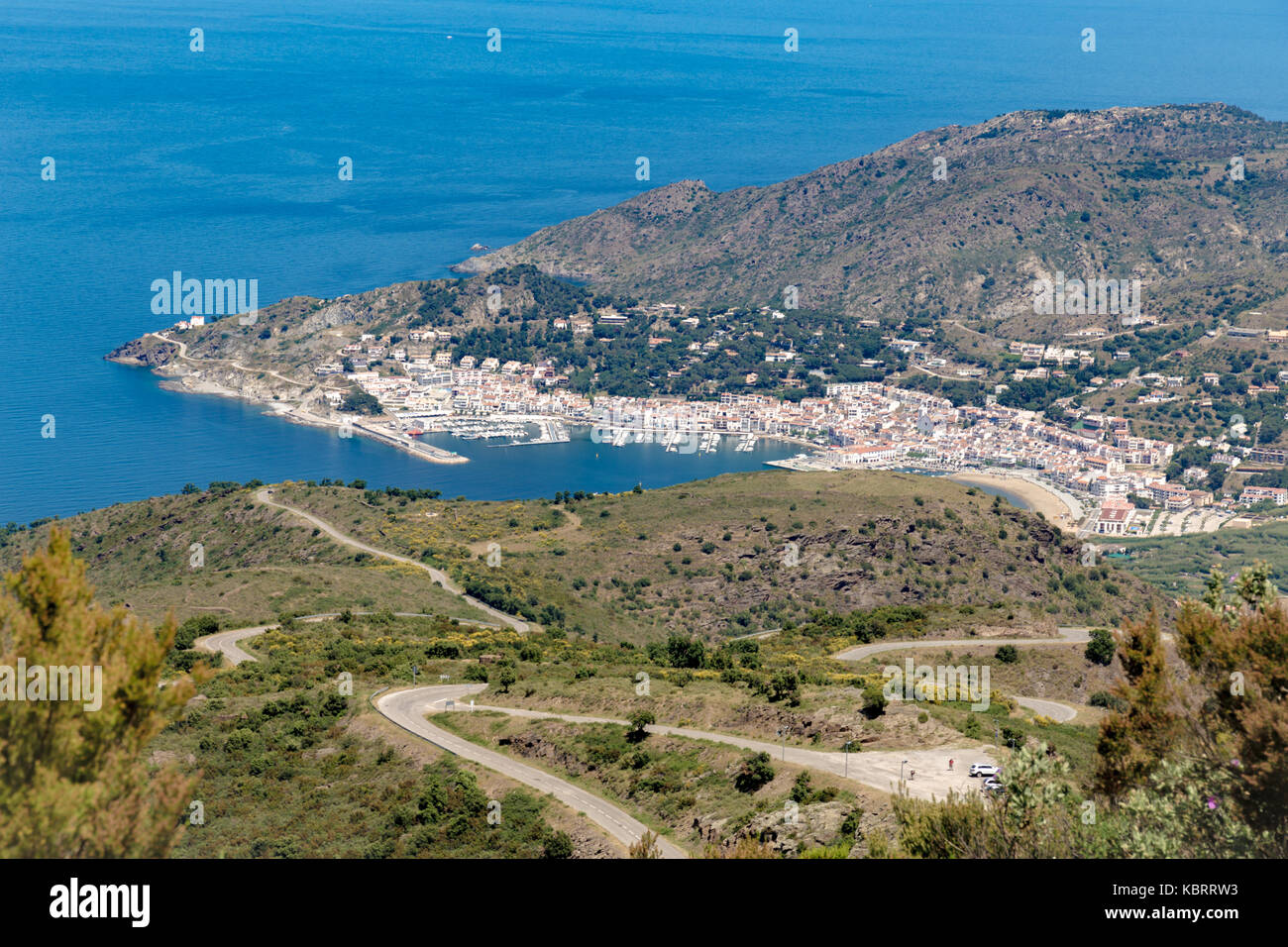 Spanish coastline city bay shot from top of the hill Stock Photo