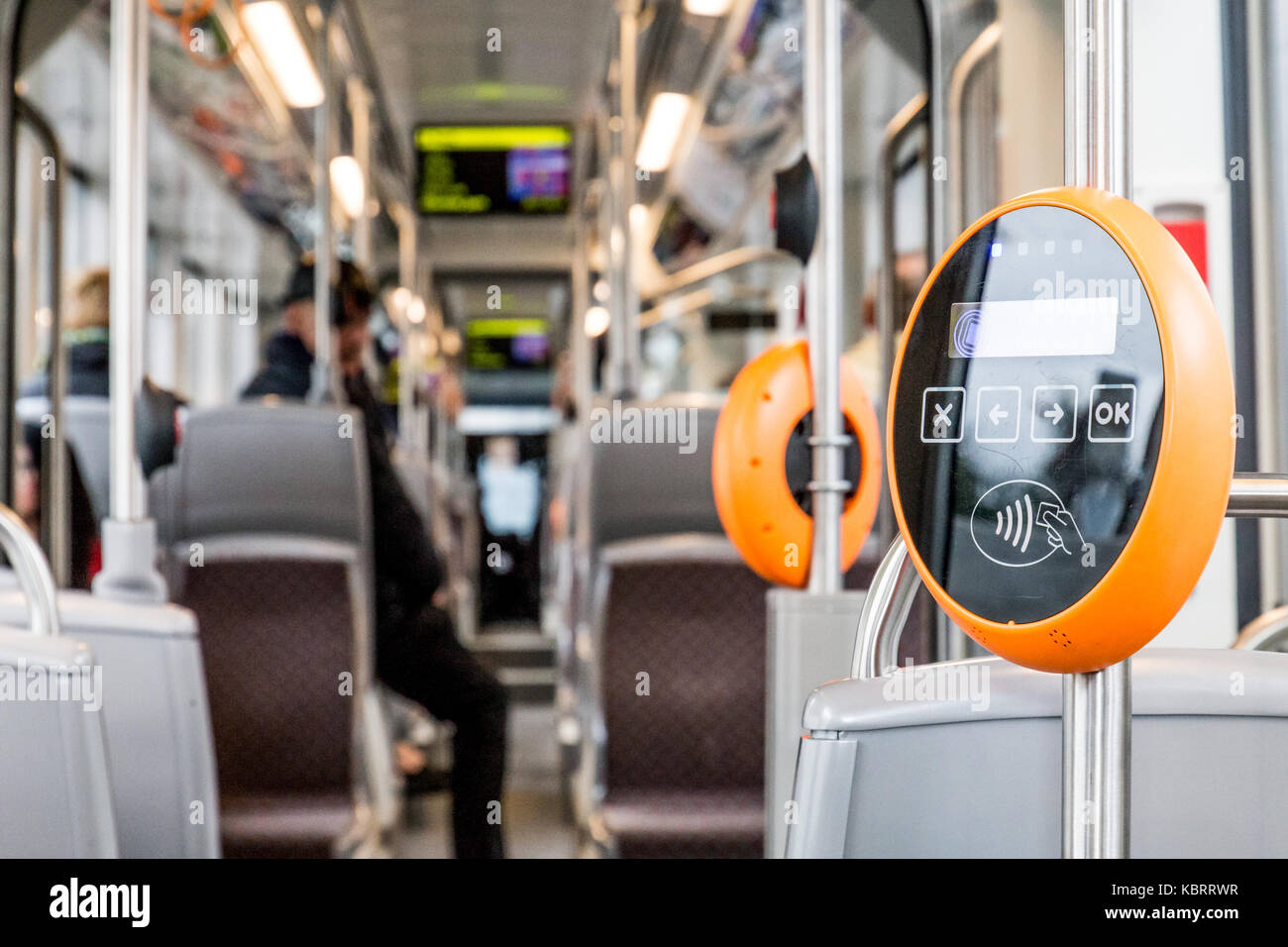Orange modern magnetic ticket validator Stock Photo