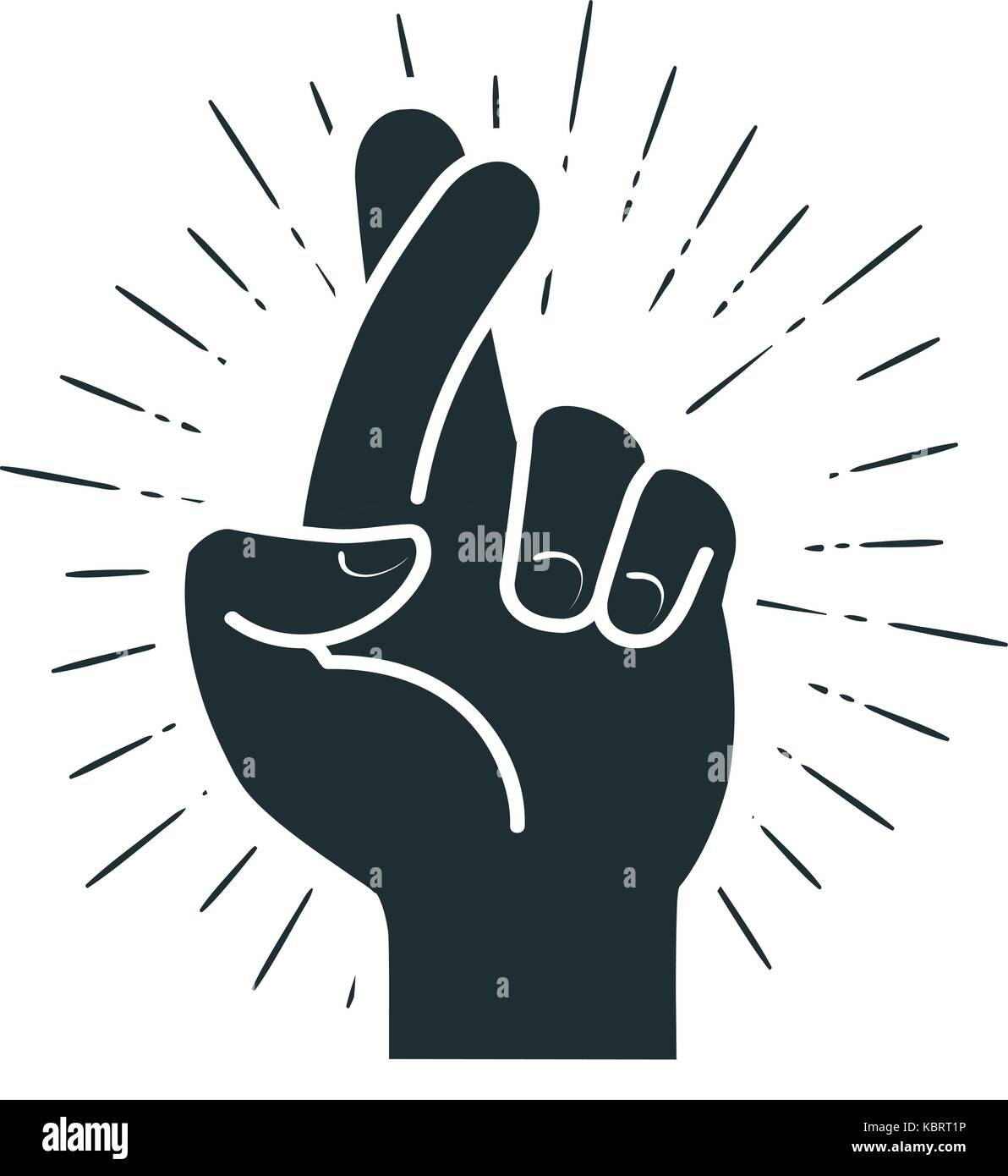 Fingers crossed, hand gesture. Lie, on luck, superstition symbol or icon. Vector illustration - Stock Image