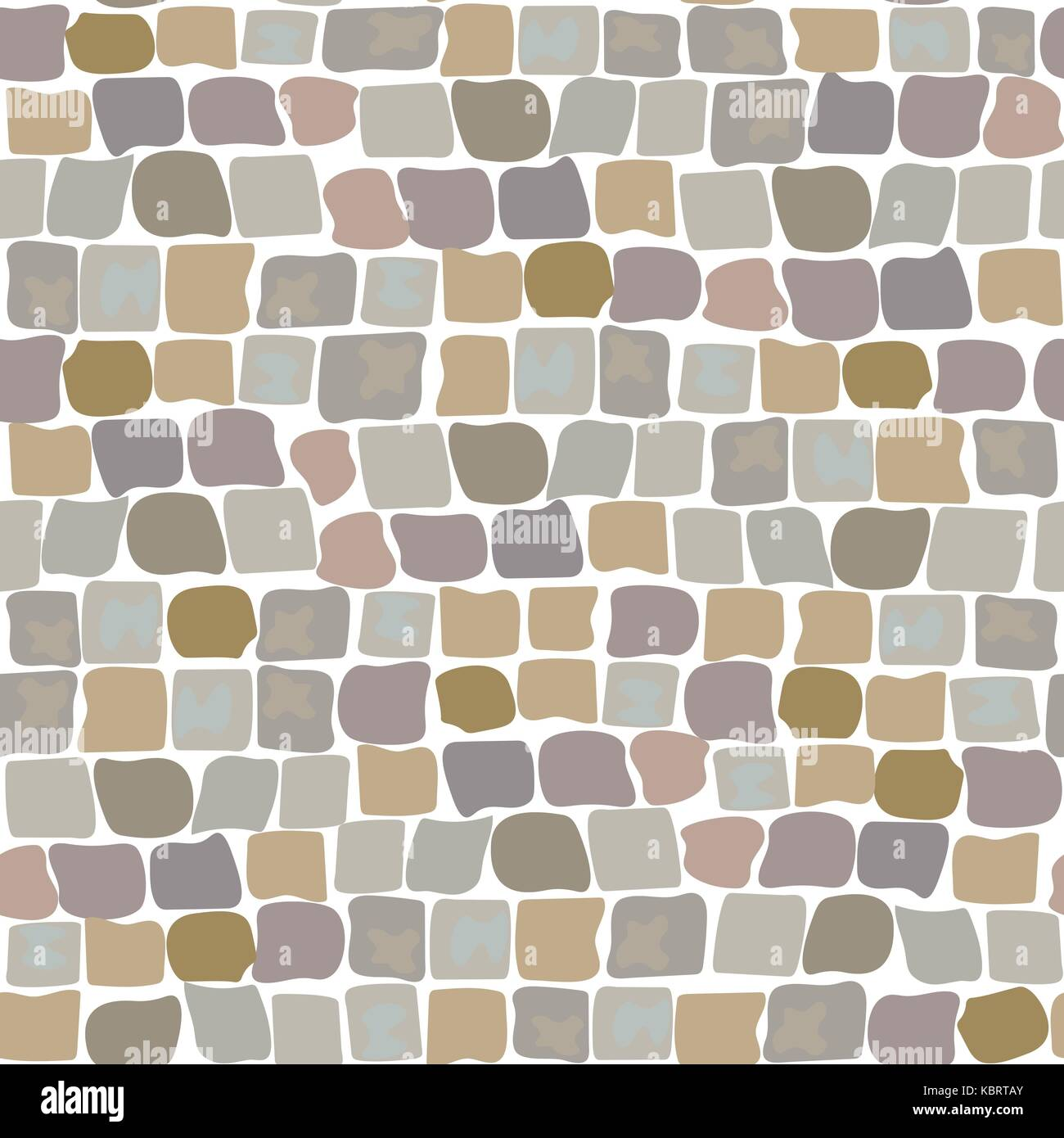Paving Stones Road Texture seamless pattern. wall of stone, cobbled street - Stock Vector