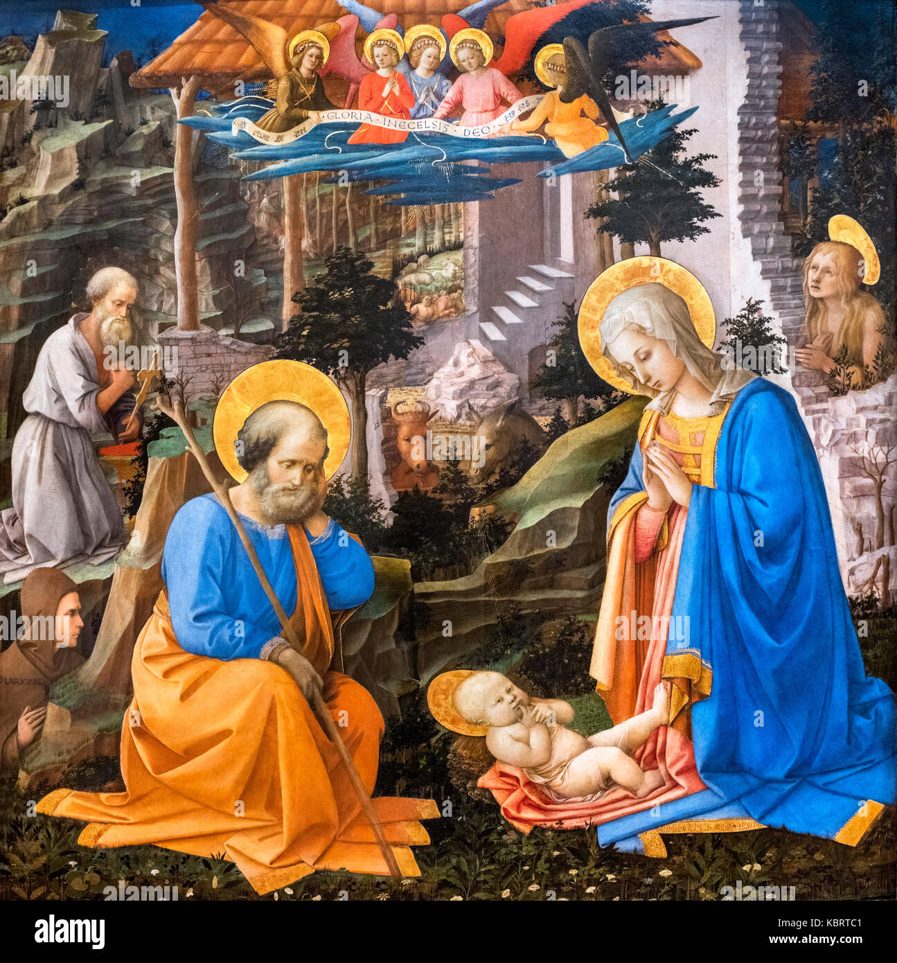 Adoration of the Christ Child with St Joseph, St Jerome, St Hilarion, St Mary Magdalene and Angels by Filippo Lippi - Stock Image