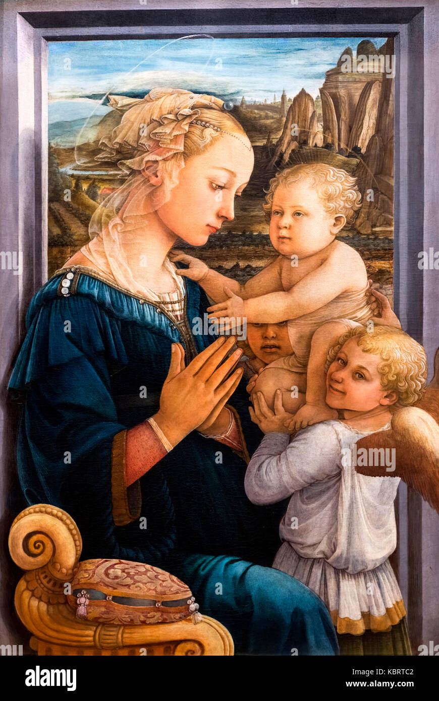 Madonna and Child with Two Angels by Filippo Lippi  (c.1406-1469), tempera on wood, c.1460-65 - Stock Image