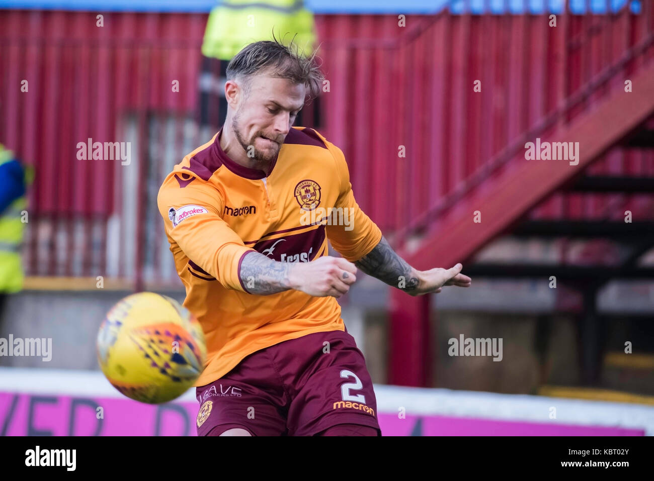 Motherwell Vs Partic Thistle football 30092017 Stock Photo
