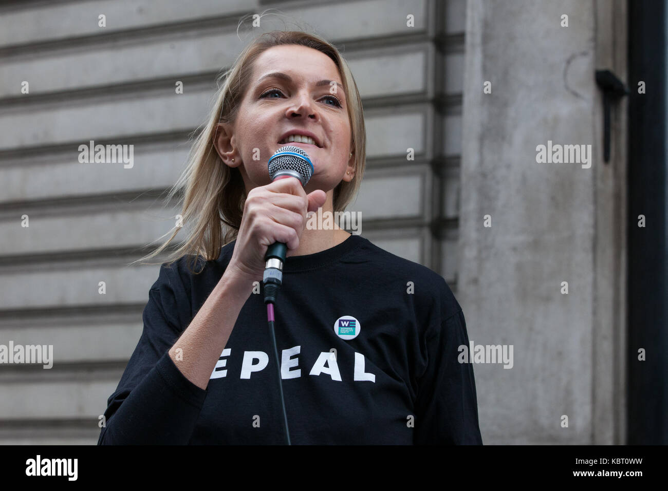 London, UK. 30th September, 2017. Sophie Walker, Leader of the Women's Equality Party, addresses campaigners from Stock Photo