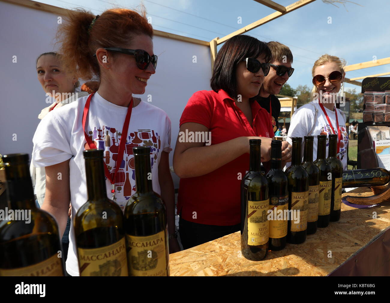 Crimea, Russia. 30th Sep, 2017. People attend the WineFest grape harvesting and wine making festival at the Zolotaya Stock Photo