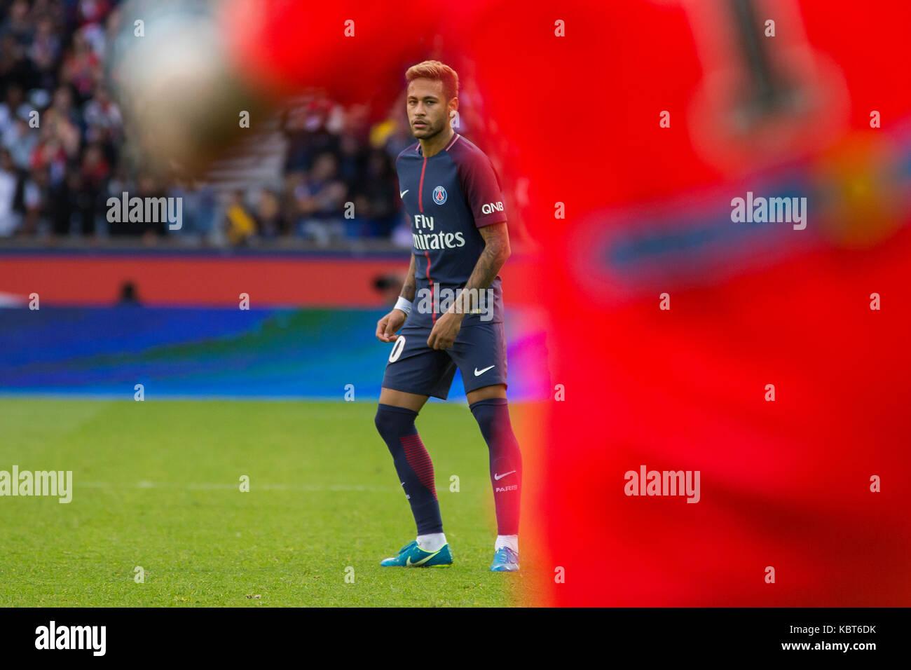Neymar Jr. during the French Ligue 1 soccer match between Paris Saint Germain (PSG) and Bordeaux at Parc des Princes. The match was won 6-2 by Paris Saint Germain. Stock Photo