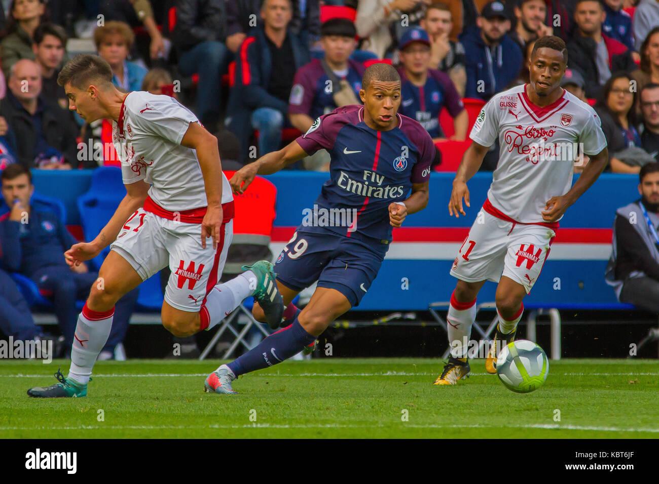 Kylian Mbappe in action during the French Ligue 1 soccer match between Paris Saint Germain (PSG) and Bordeaux at Parc des Princes. The match was won 6-2 by Paris Saint Germain. Stock Photo