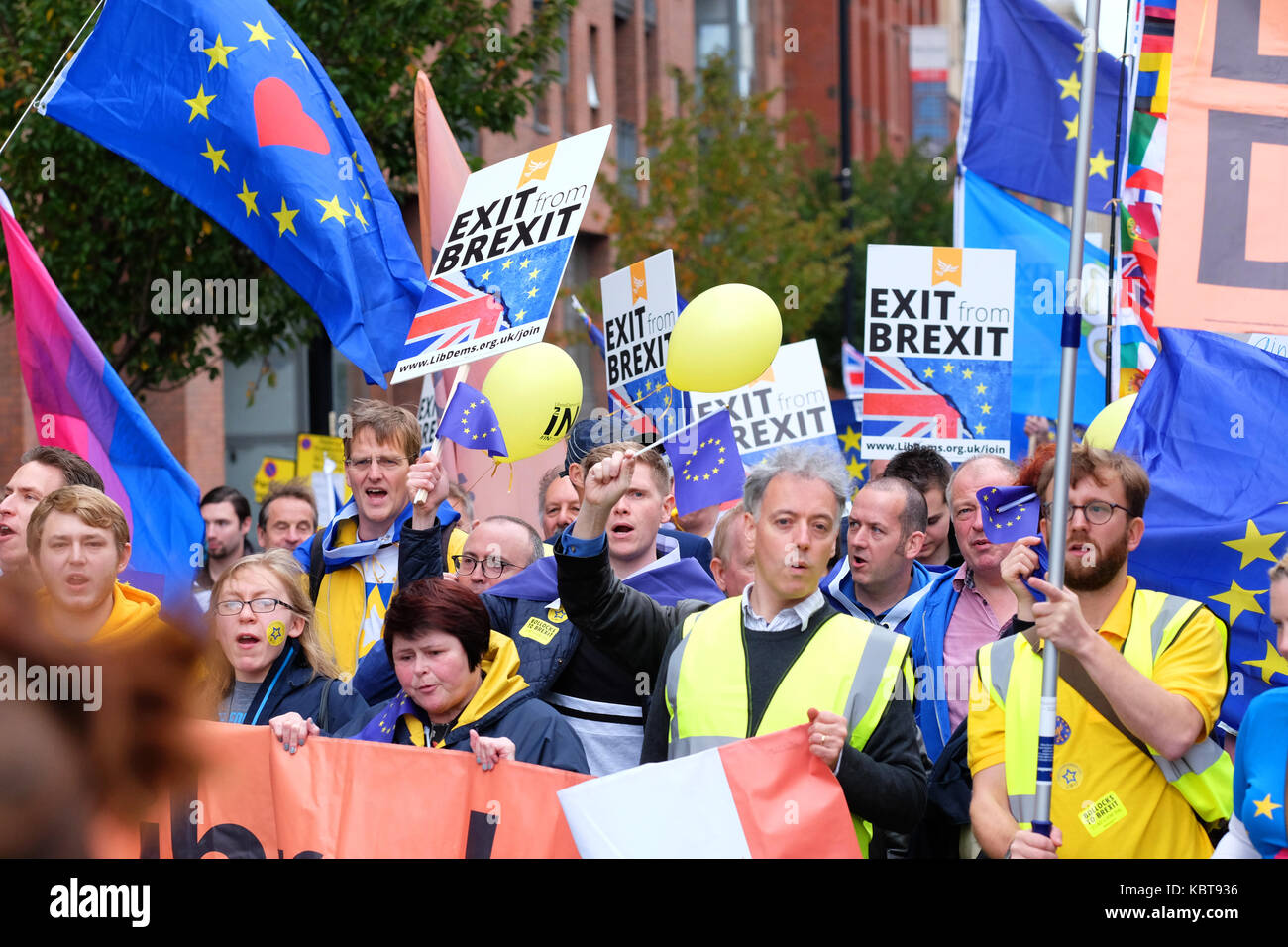Stop Brexit march, Manchester city centre, Sunday 1st October 2017 - Large protest by thousands of Stop Brexit supporters Stock Photo