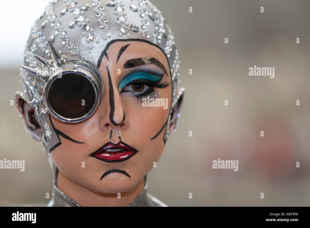 Olympia Beauty Show: 1 October, 2017 London UK:  Contestants from the Make-Up and Body-Painting competitions.  Credit: - Stock Image