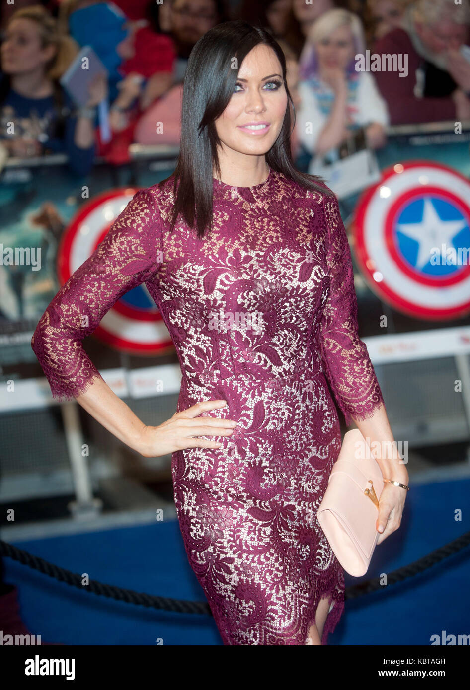 Linzi Stoppard  at the UK Film Premiere of 'Captain America: The Winter Soldier' at Westfield London on - Stock Image