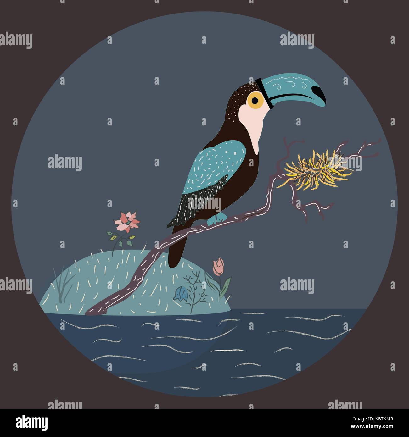 Toucan sitting on a branch with nest over the water. Vector Illustration - Stock Image