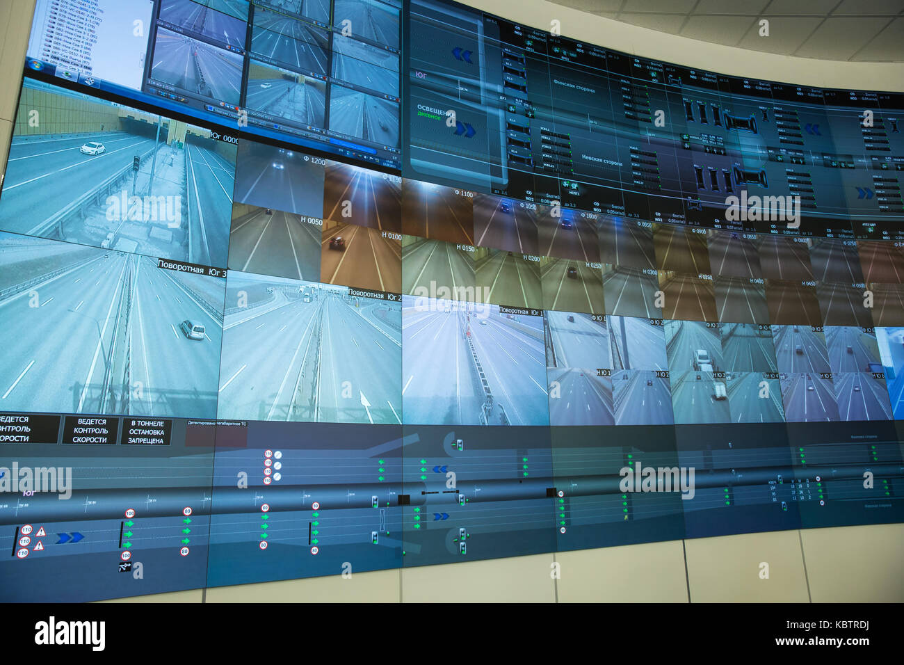 SAINT-PETERSBURG, RUSSIA - APRIL 12, 2015 - Central control panel an automobile tunnel under a ship canal. Flood - Stock Image