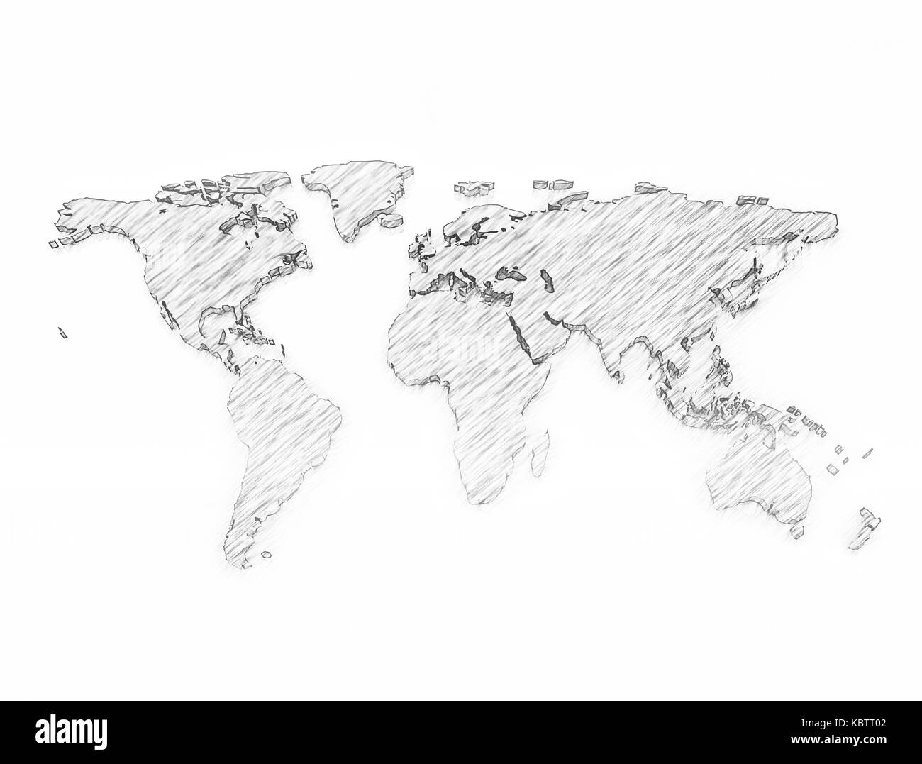 World map 3d pencil sketch isolated on white background