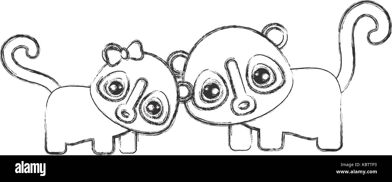 cute spectacled bears icon over white background vector illustration Stock Vector