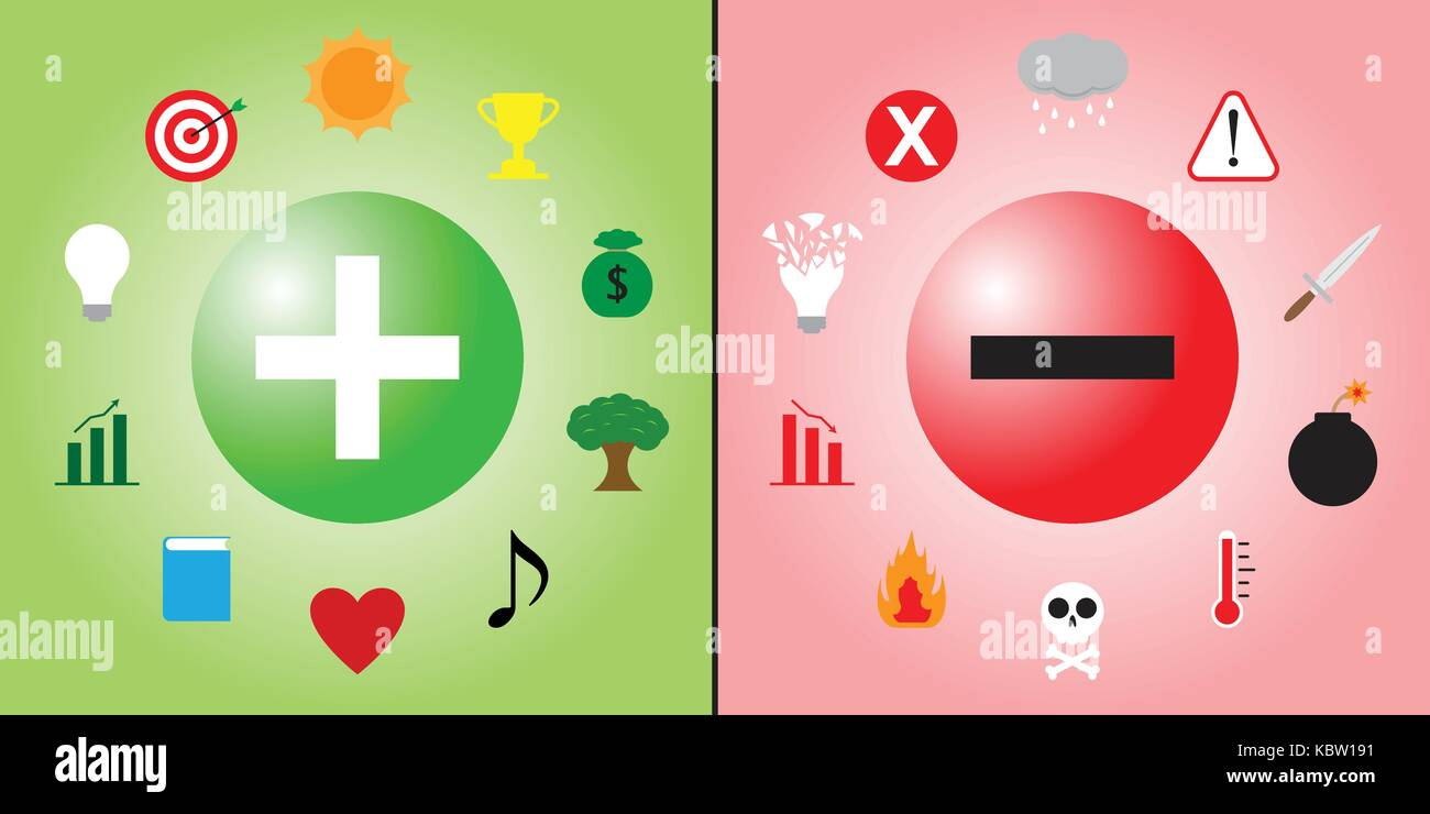 Positive Symbol Is Encircled By Creativity & Recreation Icons And Negative Symbol Is Encircled By Violence & - Stock Vector